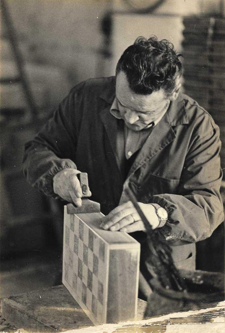 Our dad Aniello Stinga at work on some Sorrento's inlaid boxes, 1970, Vico Fuori, Sorrento