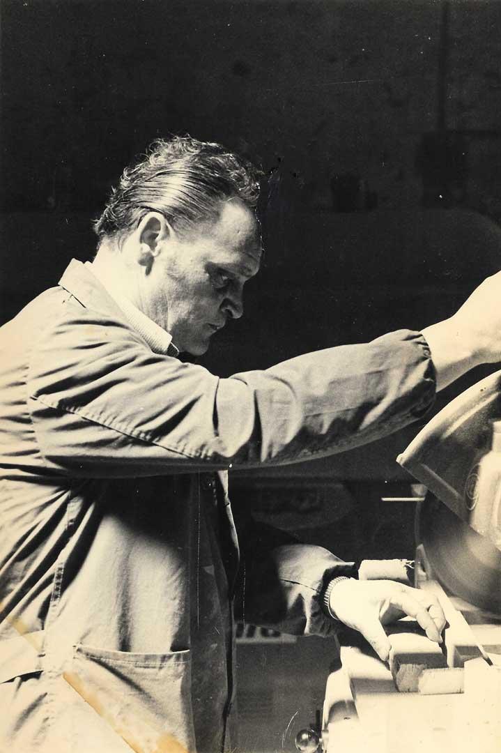 Our dad Aniello Stinga cutting some pieces of wood, 1970, Vico Fuori, Sorrento