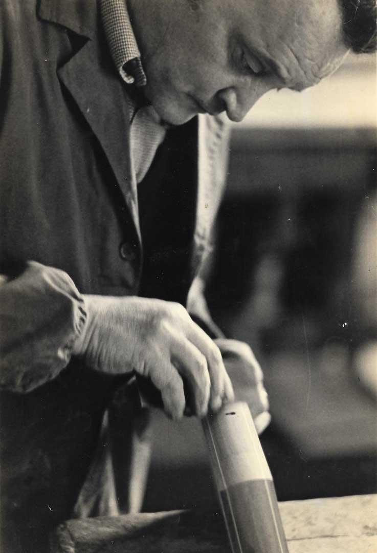 Our dad Aniello Stinga finishing some Sorrento's inlaid boxes, 1970, Vico Fuori, Sorrento